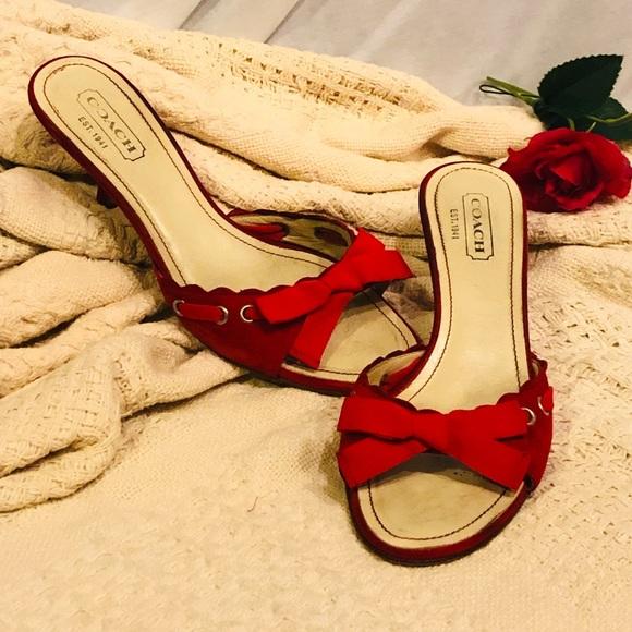 d0f040813655b Coach Shoes | Kitten Heels A Beautiful Red Open Toe | Poshmark